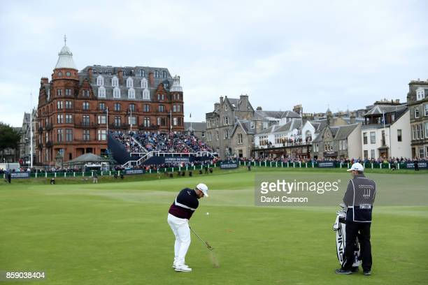 Tyrrell Hatton of England plays his second shot on the 18th hole during the final round of the 2017 Alfred Dunhill Links Championship on the Old...