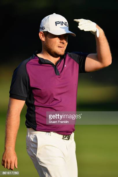 Tyrrell Hatton of England reacts on the 17th during the final round of the 2017 Italian Open at Golf Club Milano Parco Reale di Monza on October 15...