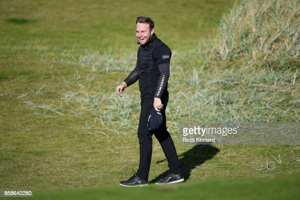 Tyrrell Hatton of England reacts on the 6th green during day three of the 2017 Alfred Dunhill Championship at Kingsbarns on October 7 2017 in St...