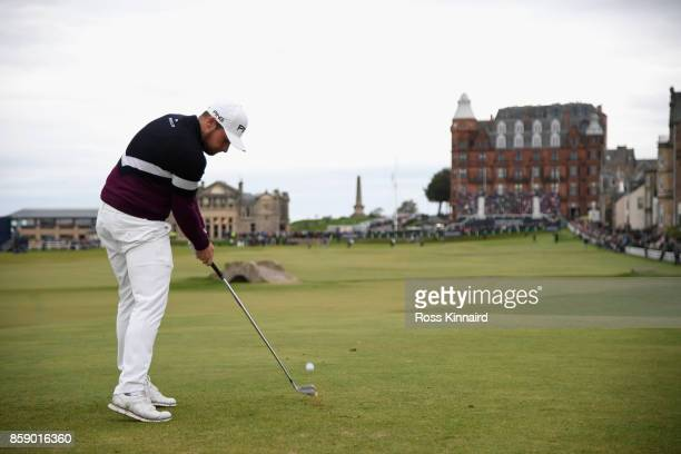 Tyrrell Hatton of England tees off on the 18th during the final round of the 2017 Alfred Dunhill Championship at The Old Course on October 8 2017 in...