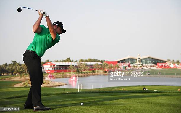 Tyrrell Hatton of England tees off on the 18th hole during the third round of the Abu Dhabi HSBC Championship at the Abu Dhabi Golf Club on January...