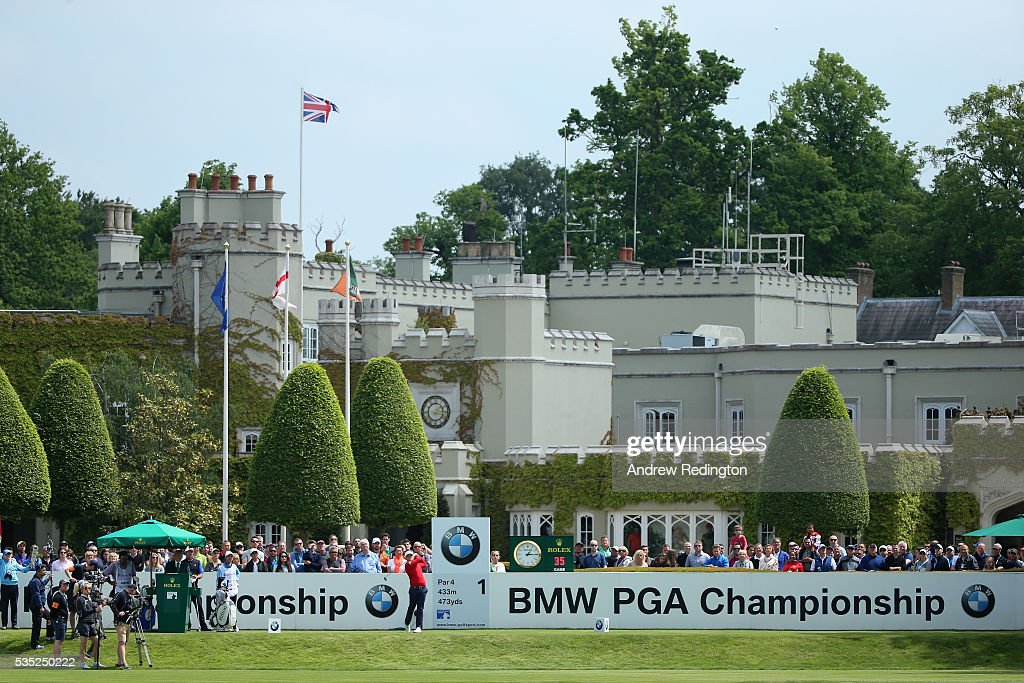 <a gi-track='captionPersonalityLinkClicked' href=/galleries/search?phrase=Tyrrell+Hatton&family=editorial&specificpeople=7104399 ng-click='$event.stopPropagation()'>Tyrrell Hatton</a> of England tees off on the 1st hole during day four of the BMW PGA Championship at Wentworth on May 29, 2016 in Virginia Water, England.