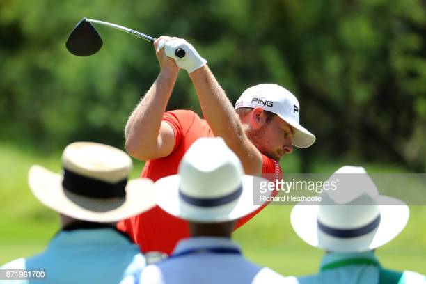 Tyrrell Hatton of England tees off on the 2nd hole during the first round of the Nedbank Golf Challenge at Gary Player CC on November 9 2017 in Sun...