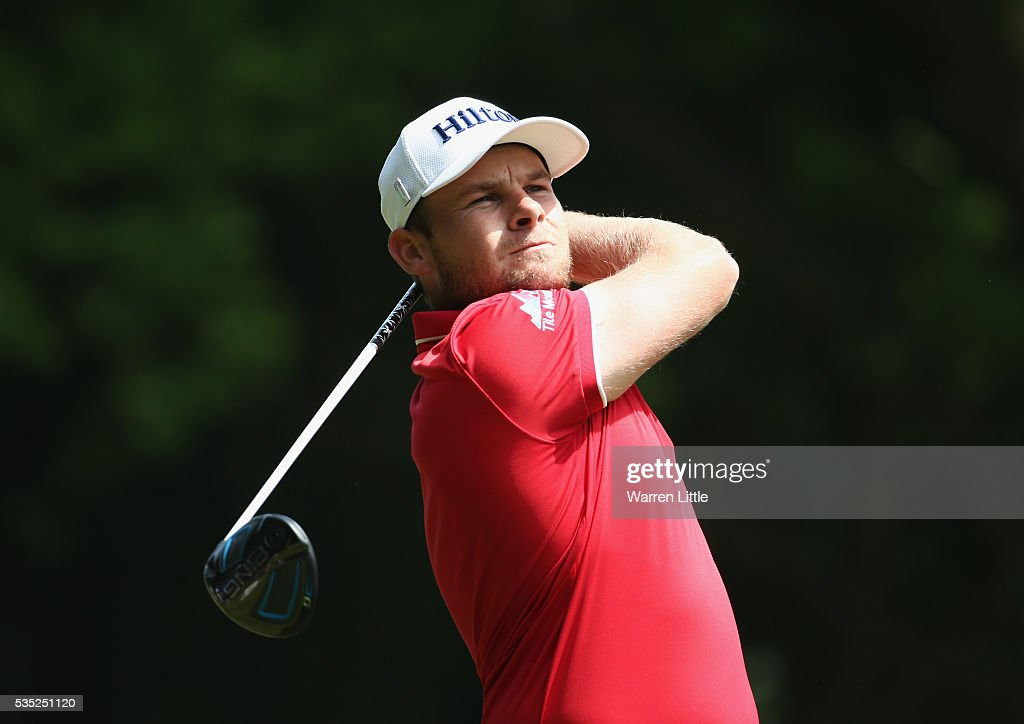 <a gi-track='captionPersonalityLinkClicked' href=/galleries/search?phrase=Tyrrell+Hatton&family=editorial&specificpeople=7104399 ng-click='$event.stopPropagation()'>Tyrrell Hatton</a> of England tees off on the 3rd hole during day four of the BMW PGA Championship at Wentworth on May 29, 2016 in Virginia Water, England.