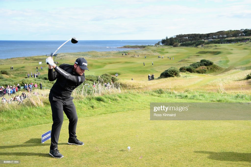 Tyrrell Hatton of England tees off on the 7th during day three of the 2017 Alfred Dunhill Championship at Kingsbarns on October 7, 2017 in St Andrews, Scotland.