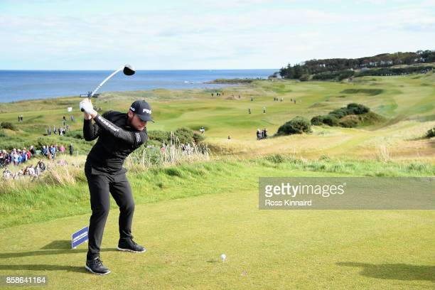 Tyrrell Hatton of England tees off on the 7th during day three of the 2017 Alfred Dunhill Championship at Kingsbarns on October 7 2017 in St Andrews...