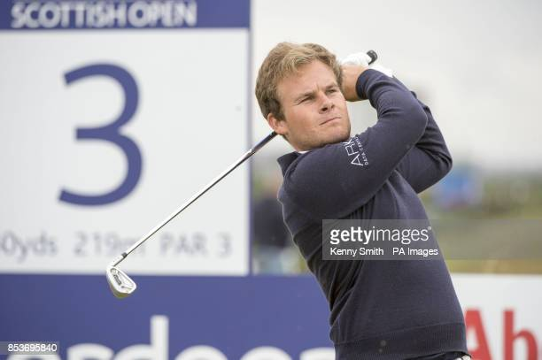 Tyrell Hatton tees off at the 3rd hole during day four of the Aberdeen Asset Management Scottish Open at Royal Aberdeen Aberdeen