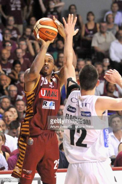 Tyrus McGee of Umana competes with Diego Flaccadori of Dolomiti during the match game 2 of play off final series of LBA Legabasket of Serie A1...