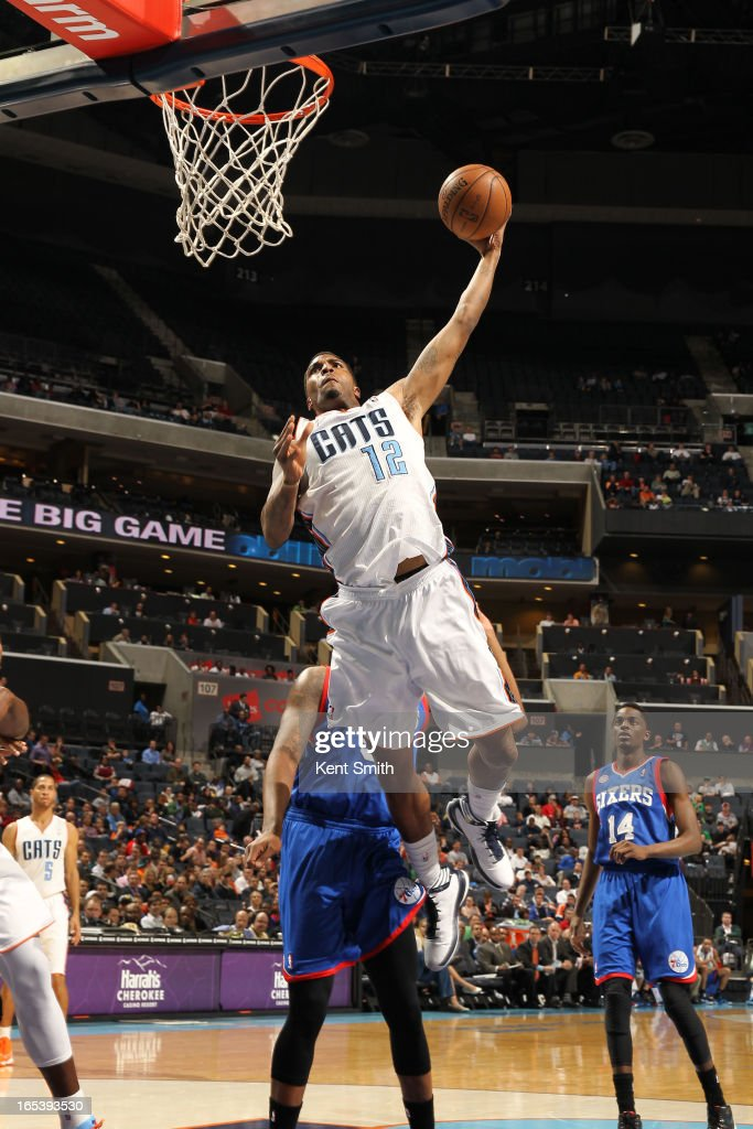 Tyrus Thomas #12 of the Charlotte Bobcats dunks against the Philadelphia 76ers at the Time Warner Cable Arena on April 3, 2013 in Charlotte, North Carolina.