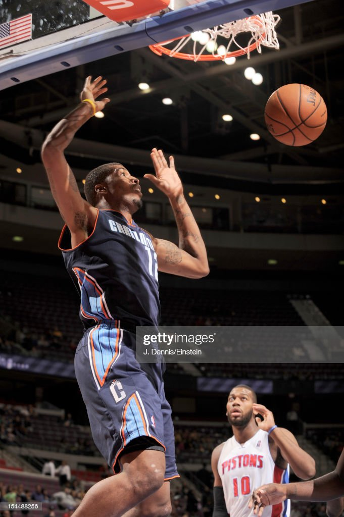 <a gi-track='captionPersonalityLinkClicked' href=/galleries/search?phrase=Tyrus+Thomas&family=editorial&specificpeople=453285 ng-click='$event.stopPropagation()'>Tyrus Thomas</a> #12 of the Charlotte Bobcats dunks the ball during the pre-season game between the Charlotte Bobcats and the Detroit Pistons on October 20, 2012 at The Palace of Auburn Hills in Auburn Hills, Michigan.