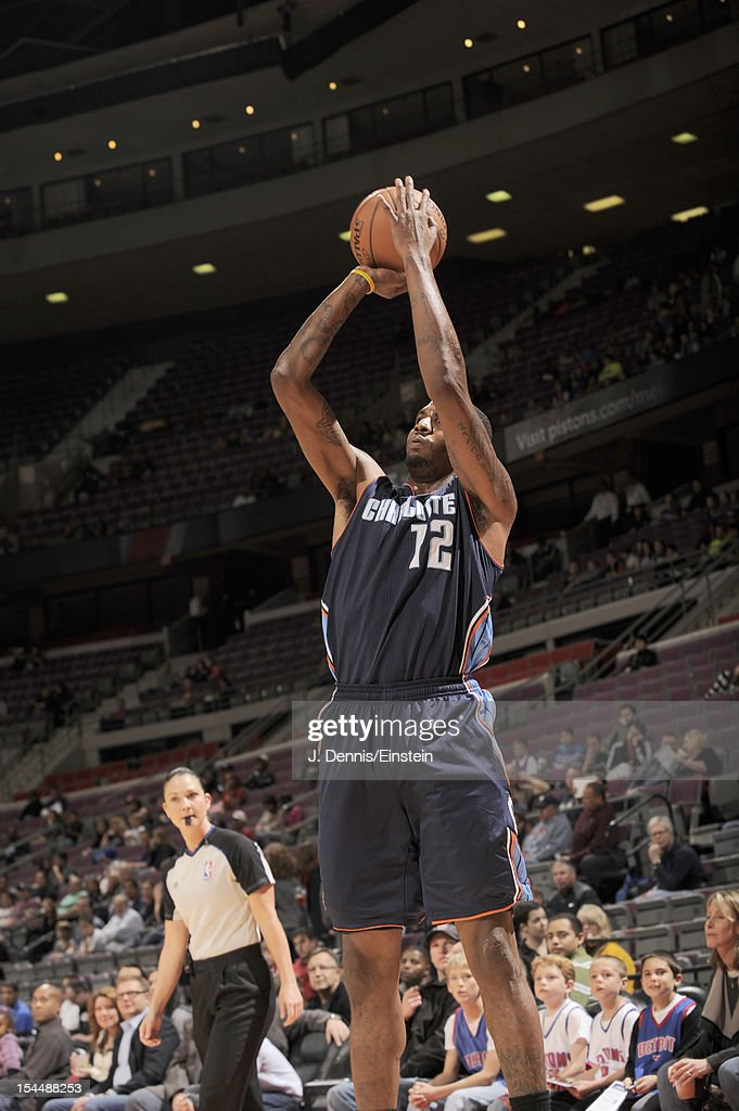 <a gi-track='captionPersonalityLinkClicked' href=/galleries/search?phrase=Tyrus+Thomas&family=editorial&specificpeople=453285 ng-click='$event.stopPropagation()'>Tyrus Thomas</a> #12 of the Charlotte Bobcats goes for a jump shot during the pre-season game between the Charlotte Bobcats and the Detroit Pistons on October 20, 2012 at The Palace of Auburn Hills in Auburn Hills, Michigan.