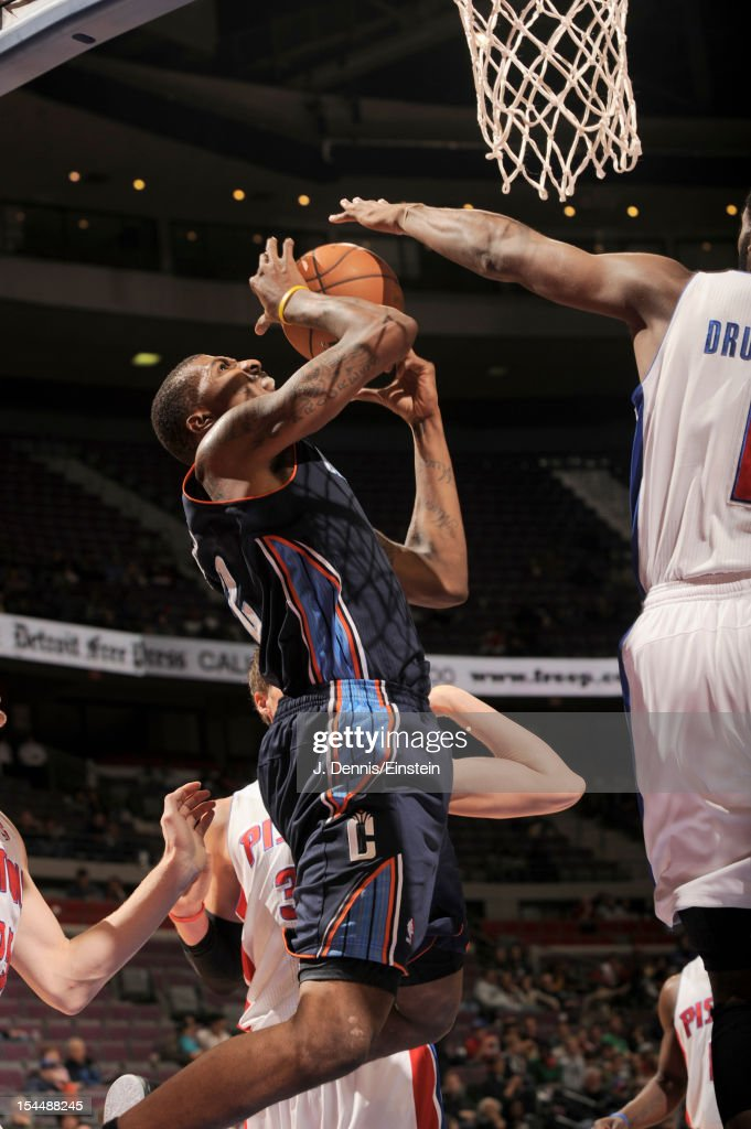 <a gi-track='captionPersonalityLinkClicked' href=/galleries/search?phrase=Tyrus+Thomas&family=editorial&specificpeople=453285 ng-click='$event.stopPropagation()'>Tyrus Thomas</a> #12 of the Charlotte Bobcats goes to the basket during the pre-season game between the Charlotte Bobcats and the Detroit Pistons on October 20, 2012 at The Palace of Auburn Hills in Auburn Hills, Michigan.