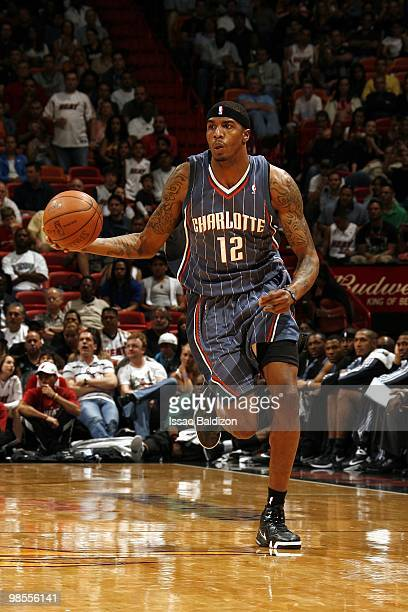 Tyrus Thomas of the Charlotte Bobcats moves the ball up court during the game against the Miami Heat at American Airlines Arena on March 20 2010 in...