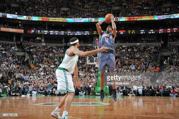 Tyrus Thomas of the Charlotte Bobcats takes a shot against Rasheed Wallace of the Boston Celtics on March 3 2010 at the TD Garden in Boston...