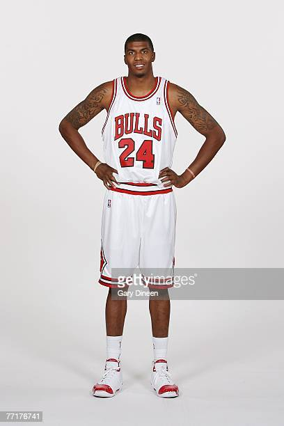 Tyrus Thomas of the Chicago Bulls poses for a portrait during NBA Media Day at the Sheri L Berto Center on October 1 2007 in Chicago Illinois NOTE TO...