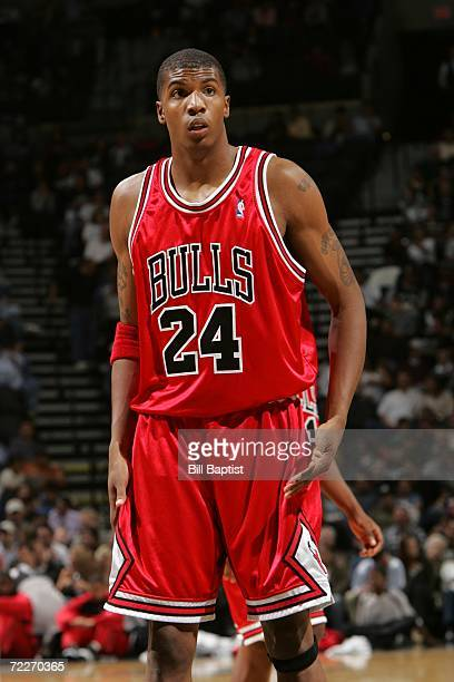 Tyrus Thomas of the Chicago Bulls stands on the court during the preseason game against the San Antonio Spurs at the ATT Center on October 19 2006 in...