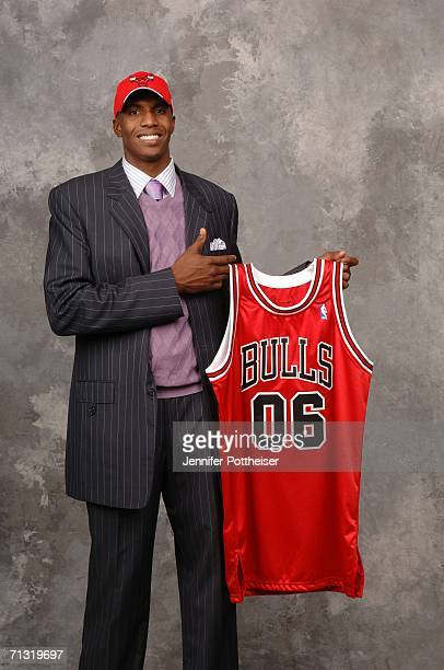 Tyrus Thomas of the Chicago Bulls the fourth overall pick by the Portland Trail Blazers traded to the Bulls poses for a portrait backstage during the...