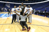 Tyshawn Taylor and Andray Blatche of the Brooklyn Nets poses for a photo during the NBA Cares Unified Basketball Clinic as part of the 2014 Global...