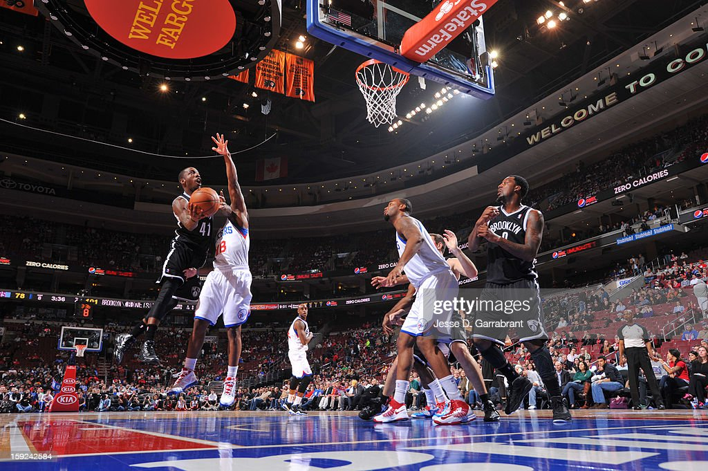 Tyshawn Taylor #41 of the Brooklyn Nets shoots the ball against the Philadelphia 76ers during the game at the Wells Fargo Center on January 8, 2013 in Philadelphia, Pennsylvania.