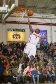 Tyshawn Taylor of the Maine Red Claws makes a breakaway layup against the Springfield Armor on March 23 2014 at the Portland Expo in Portland Maine...