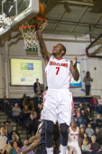 Tyshawn Taylor of the Maine Red Claws puts in a reverse layup against the Erie BayHawks on March 16 2014 at the Portland Expo in Portland Maine NOTE...