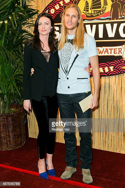 Tyson Apostlol and Rachel Foulger attend 'Survivor Blood Vs Water' Season Finale at CBS Television City on December 15 2013 in Los Angeles California