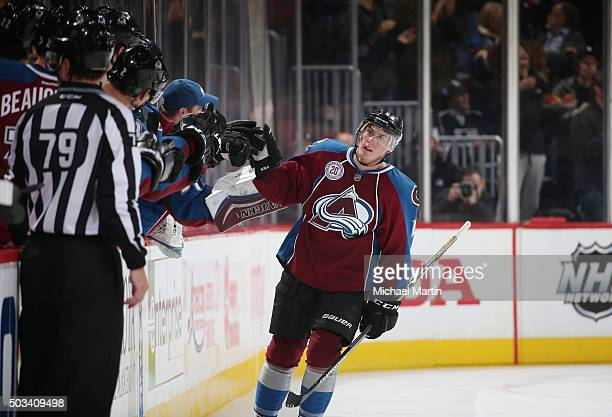 Tyson Barrie of the Colorado Avalanche celebrates with his bench after his second goal of the night against the Los Angeles Kings at the Pepsi Center...