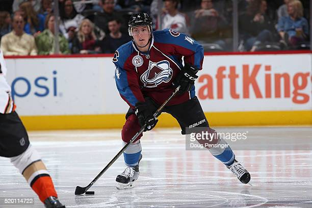 Tyson Barrie of the Colorado Avalanche controls the ball against the Anaheim Ducks at Pepsi Center on April 9 2016 in Denver Colorado the Ducks...