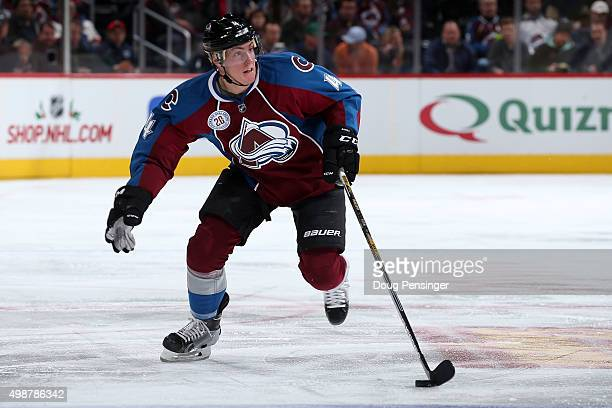 Tyson Barrie of the Colorado Avalanche controls the puck against the Ottawa Senators at Pepsi Center on November 25 2015 in Denver Colorado The...