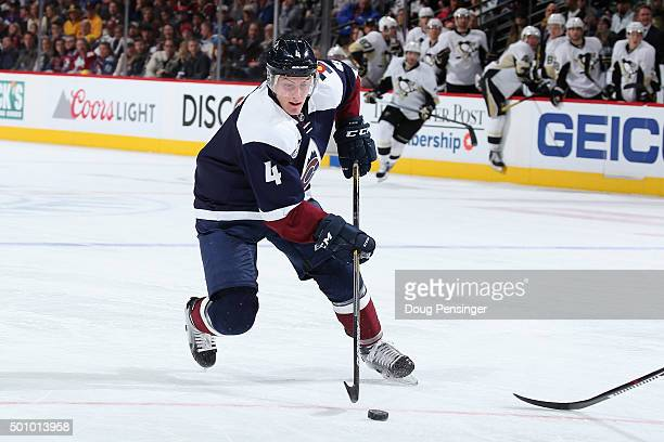 Tyson Barrie of the Colorado Avalanche controls the puck against the Pittsburgh Penguins at Pepsi Center on December 9 2015 in Denver Colorado The...