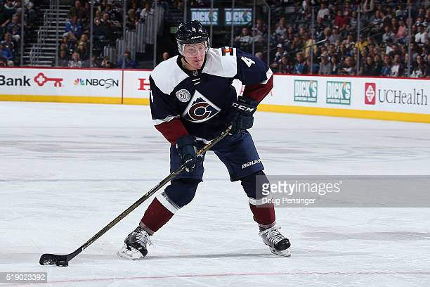 Tyson Barrie of the Colorado Avalanche controls the puck against the St Louis Blues at Pepsi Center on April 3 2016 in Denver Colorado The Blues...