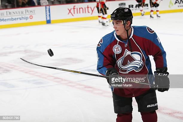Tyson Barrie of the Colorado Avalanche juggles a puck prior to the game against the Calgary Flames at the Pepsi Center on January 2 2016 in Denver...