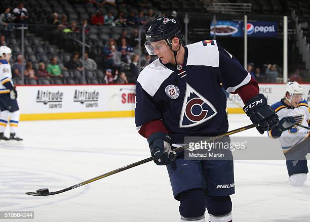 Tyson Barrie of the Colorado Avalanche juggles the puck during warm ups prior to the game against the St Louis Blues at the Pepsi Center on April 03...