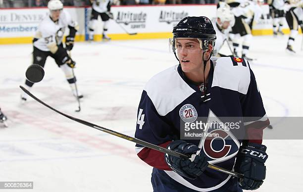 Tyson Barrie of the Colorado Avalanche juggles the puck prior to the game against the Pittsburgh Penguins at the Pepsi Center on December 9 2015 in...