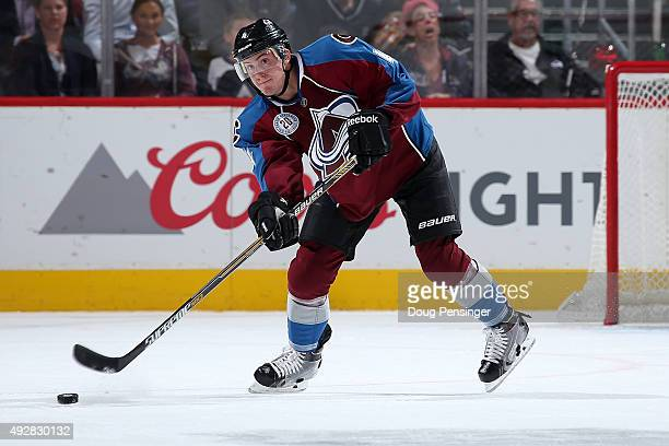 Tyson Barrie of the Colorado Avalanche passes the puck against the Boston Bruins at Pepsi Center on October 14 2015 in Denver Colorado The Bruins...