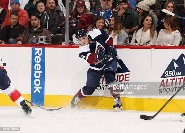 Tyson Barrie of the Colorado Avalanche shoots against the Florida Panthers at the Pepsi Center on December 16 2016 in Denver Colorado