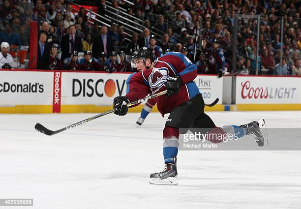 Tyson Barrie of the Colorado Avalanche shoots against the Los Angeles Kings at the Pepsi Center on March 10 2015 in Denver Colorado The Kings...