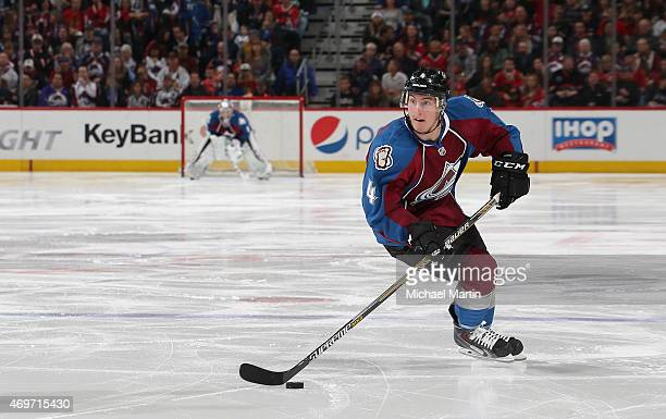 Tyson Barrie of the Colorado Avalanche skates against the Chicago Blackhawks at the Pepsi Center on April 11 2015 in Denver Colorado The Avalanche...