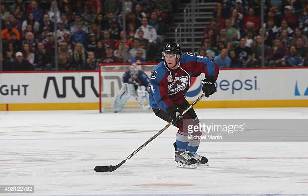 Tyson Barrie of the Colorado Avalanche skates against the Dallas Stars at the Pepsi Center on October 10 2015 in Denver Colorado The Avalanche...