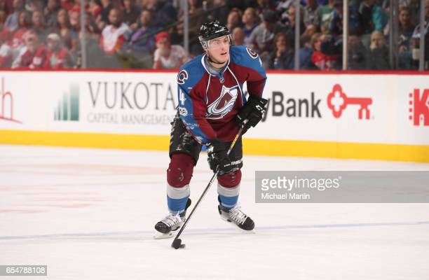 Tyson Barrie of the Colorado Avalanche skates against the Detroit Red Wings at the Pepsi Center on March 15 2017 in Denver Colorado The Avalanche...