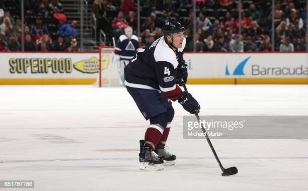Tyson Barrie of the Colorado Avalanche skates against the New Jersey Devils at the Pepsi Center on March 9 2017 in Denver Colorado The Avalanche...