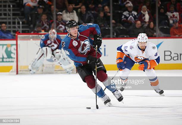 Tyson Barrie of the Colorado Avalanche skates against the New York Islanders at the Pepsi Center on December 17 2015 in Denver Colorado