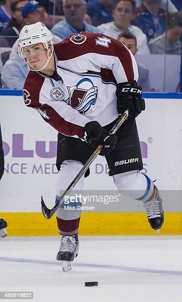 Tyson Barrie of the Colorado Avalanche skates against the Tampa Bay Lightning during second period at the Amalie Arena on October 29 2015 in Tampa...