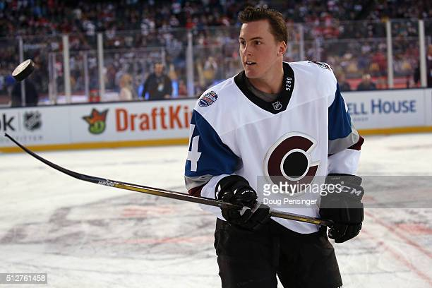Tyson Barrie of the Colorado Avalanche skates in warmups prior to the game against the Detroit Red Wings at Coors Field during the 2016 Coors Light...