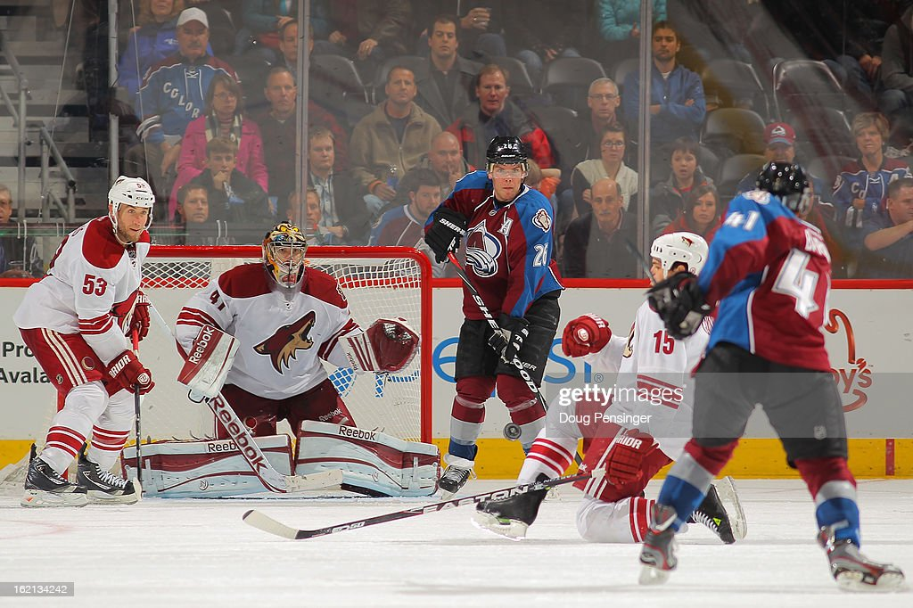 Tyson Barrie #41 of the Colorado Avalanche takes a shot against goalie Mike Smith #41 of the Phoenix Coyotes as <a gi-track='captionPersonalityLinkClicked' href=/galleries/search?phrase=Derek+Morris&family=editorial&specificpeople=204188 ng-click='$event.stopPropagation()'>Derek Morris</a> #53 of the Phoenix Coyotes, <a gi-track='captionPersonalityLinkClicked' href=/galleries/search?phrase=Boyd+Gordon&family=editorial&specificpeople=209395 ng-click='$event.stopPropagation()'>Boyd Gordon</a> #15 of the Phoenix Coyotes and <a gi-track='captionPersonalityLinkClicked' href=/galleries/search?phrase=Paul+Stastny&family=editorial&specificpeople=2494330 ng-click='$event.stopPropagation()'>Paul Stastny</a> #26 of the Colorado Avalanche follow the play at the Pepsi Center on February 11, 2013 in Denver, Colorado. The Coyotes defeated the Avalanche 3-2 in overtime.