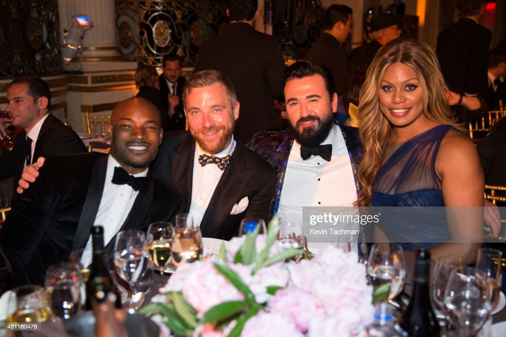 Tyson Beckford, a guest, Chris Salgardo and Laverne Cox attend the amfAR Inspiration Gala New York 2014 at The Plaza Hotel on June 10, 2014 in New York City.