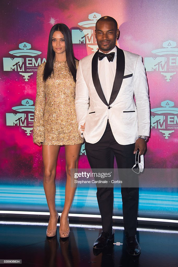 Tyson Beckford and Shanina Shaik attend the MTV EMA's 2013 at the Ziggo Dome in Amsterdam, Netherlands.