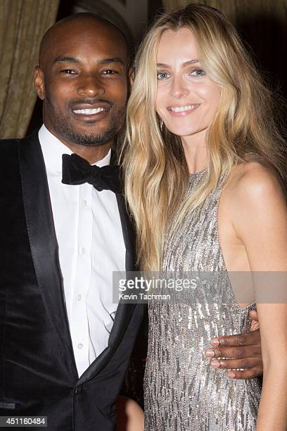 Tyson Beckford and Valentina Zelyaeva attend the amfAR Inspiration Gala New York 2014 at The Plaza Hotel on June 10 2014 in New York City