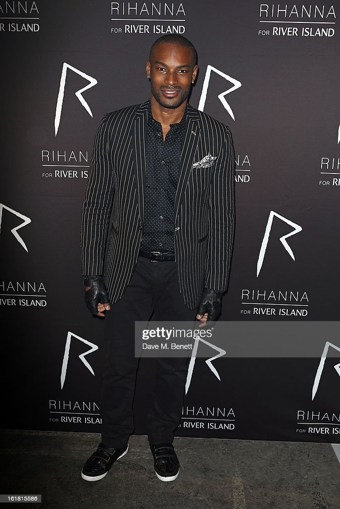 <a gi-track='captionPersonalityLinkClicked' href=/galleries/search?phrase=Tyson+Beckford&family=editorial&specificpeople=210873 ng-click='$event.stopPropagation()'>Tyson Beckford</a> arrives for the Rihanna for River Island fashion show during London Fashion Week Fall/Winter 2013/2014 at the Old Sorting Office on February 16, 2013 in London, England.