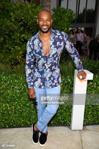 Tyson Beckford attends the SWIMMIAMI Versakini 2018 Collection Front Row at WET Deck at W South Beach on July 23 2017 in Miami Beach Florida